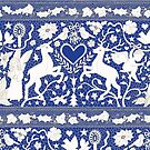 Antique lace - blue and cream (Wedgewood) - Traditional Christmas pattern by Cecca Designs by Cecca-Designs