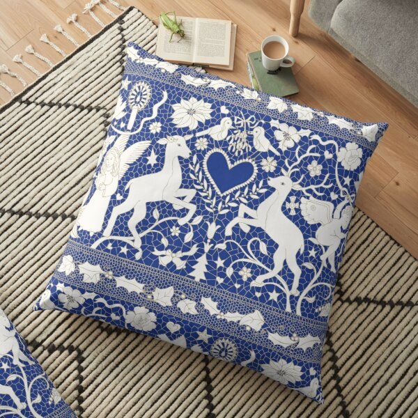 Antique lace - blue and cream (Wedgewood) - Traditional Christmas pattern by Cecca Designs Floor Pillow