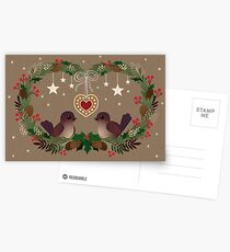 Two Birds on a Christmas Wreath Postcards