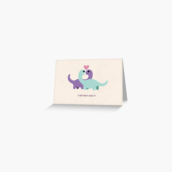 I Like Your Face - Dinosaur Couple Greeting Card