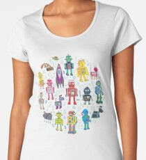 Robots in Space - grey - fun Robot pattern by Cecca Designs Women's Premium T-Shirt