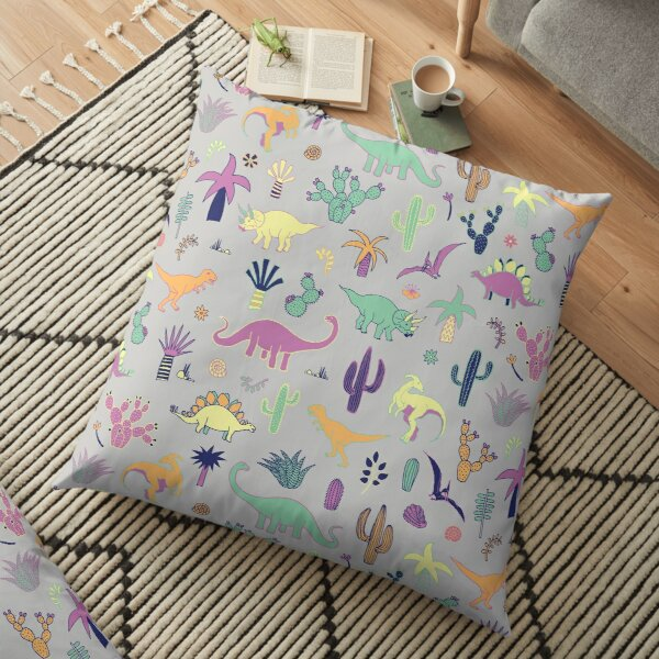 Dinosaur Desert - peach, mint and navy - fun pattern by Cecca Designs Floor Pillow