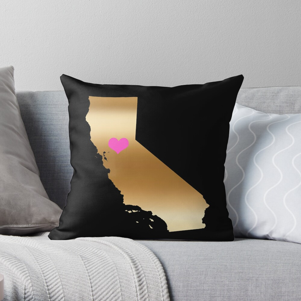 Cailfornia Love on Black Background Throw Pillow