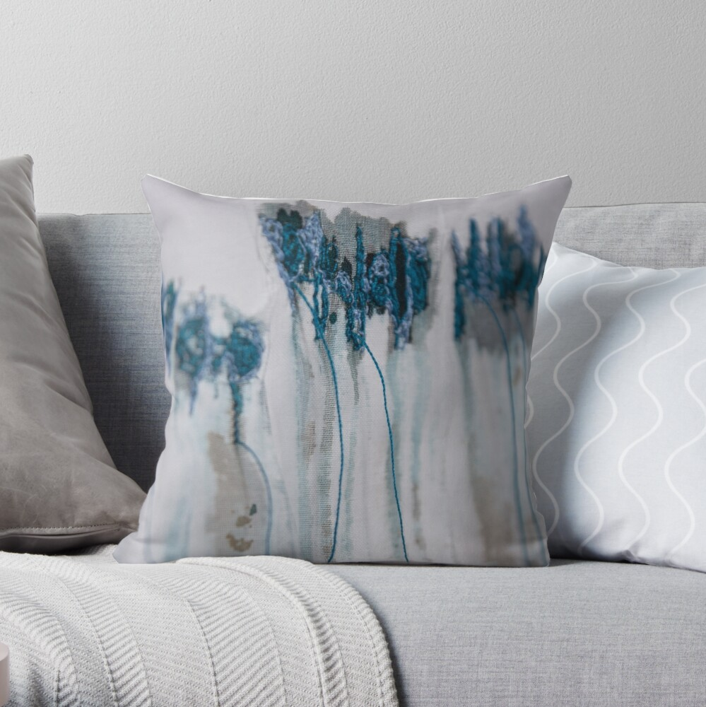 Lavender in blue Throw Pillow