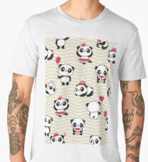 Cute Pandas with Balloons and Love Hearts Men's Premium T-Shirt