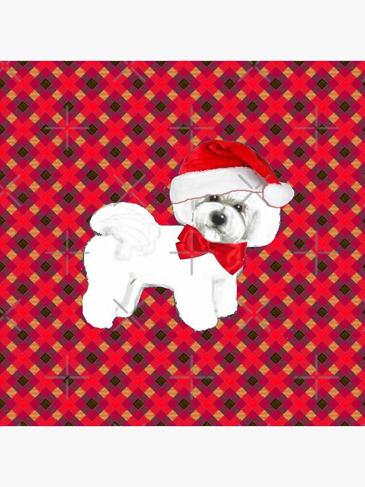 Bichon Frise Christmas tartan by MagentaRose