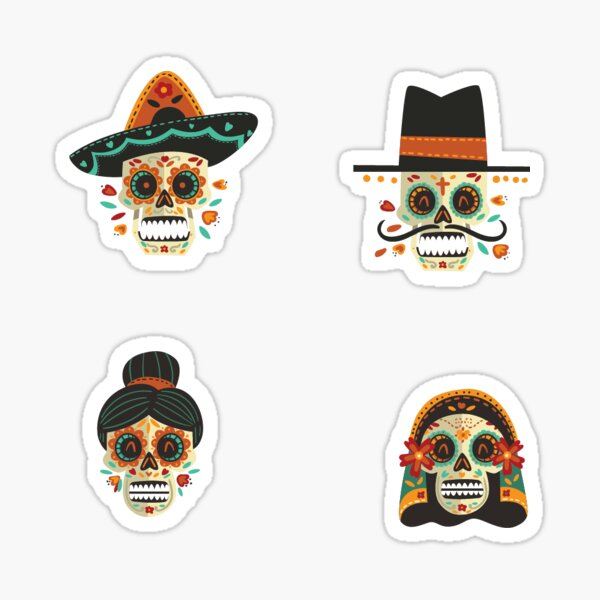 Mexican skull stickers Sticker