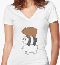 We Bare Bears Bearstack Women's Fitted V-Neck T-Shirt