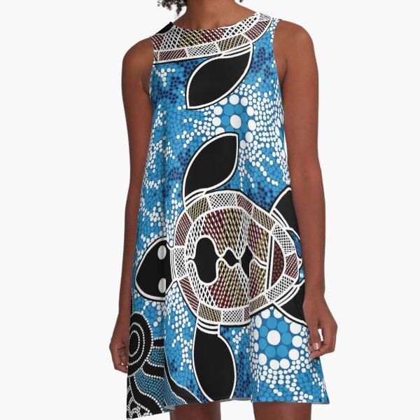 Aboriginal Art Authentic - Sea Turtles A-Line Dress