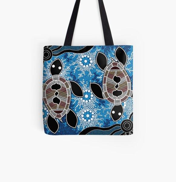 Authentic Aboriginal Art  - Sea Turtles All Over Print Tote Bag