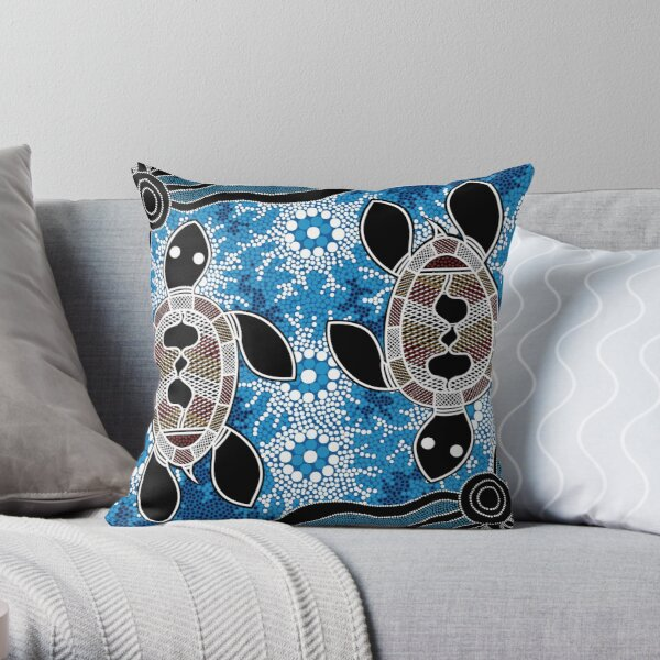 Authentic Aboriginal Art  - Sea Turtles Throw Pillow