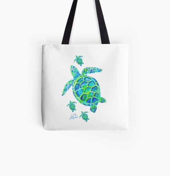 Sea Turtle with babies All Over Print Tote Bag
