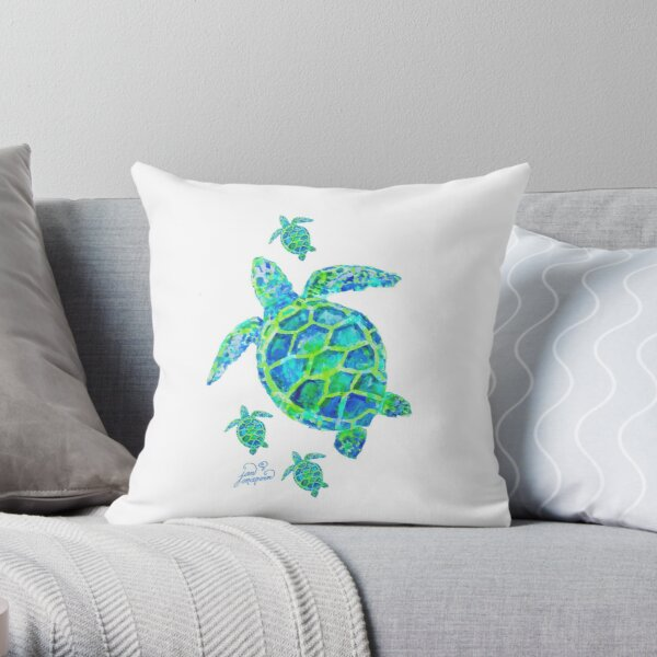 Sea Turtle with babies Throw Pillow