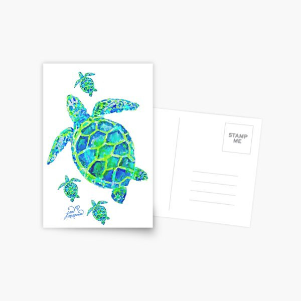 Sea Turtle with babies Postcard