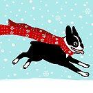 Holiday Boston Terrier Wearing Winter Scarf by Jenn Inashvili