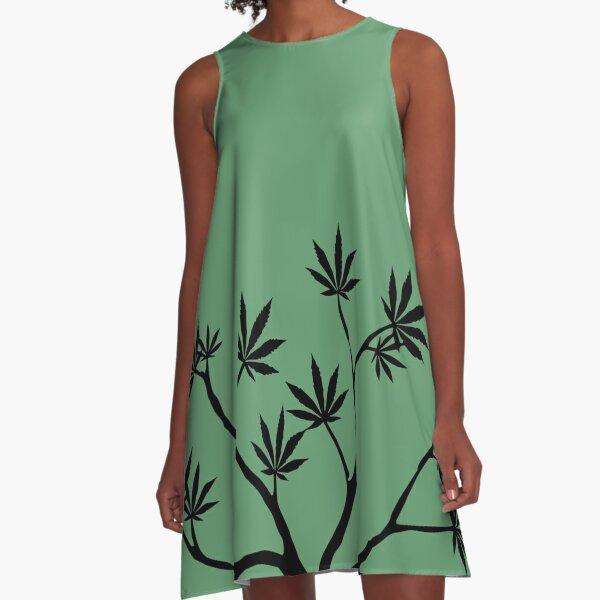 It's Just Green, Bro - Black Version A-Line Dress