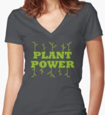 Plant Power Women's Fitted V-Neck T-Shirt