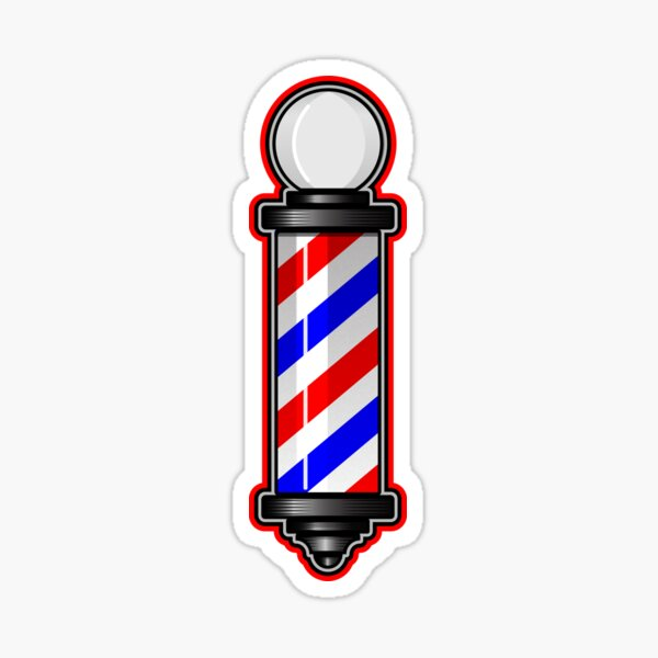 Barber Pole Hair Cut Sticker