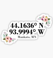 Mankato, MN Coordinates Sticker