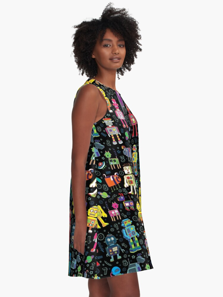 Alternate view of Robots in Space - black - fun pattern by Cecca Designs A-Line Dress