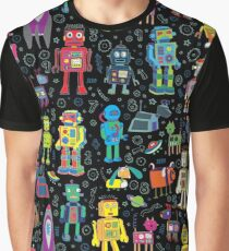Robots in Space - black - fun pattern by Cecca Designs Graphic T-Shirt