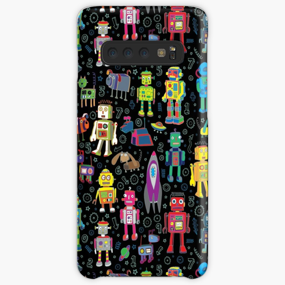 Robots in Space - black - fun pattern by Cecca Designs Case & Skin for Samsung Galaxy