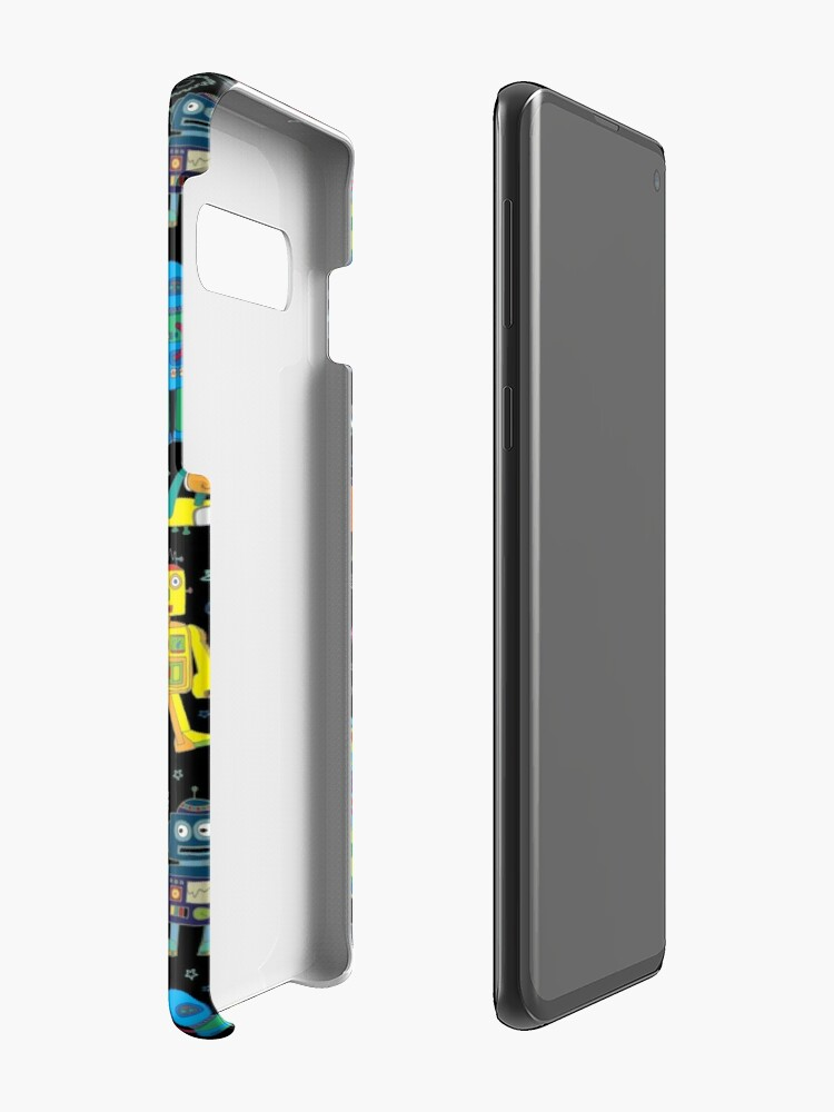 Alternate view of Robots in Space - black - fun pattern by Cecca Designs Case & Skin for Samsung Galaxy