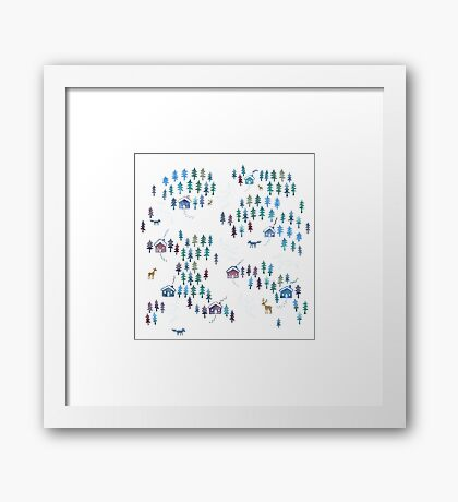 Alpine Chalets in the Snow - Original Watercolour pattern by Cecca Designs Framed Print