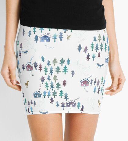 Alpine Chalets in the Snow - Original Watercolour pattern by Cecca Designs Mini Skirt