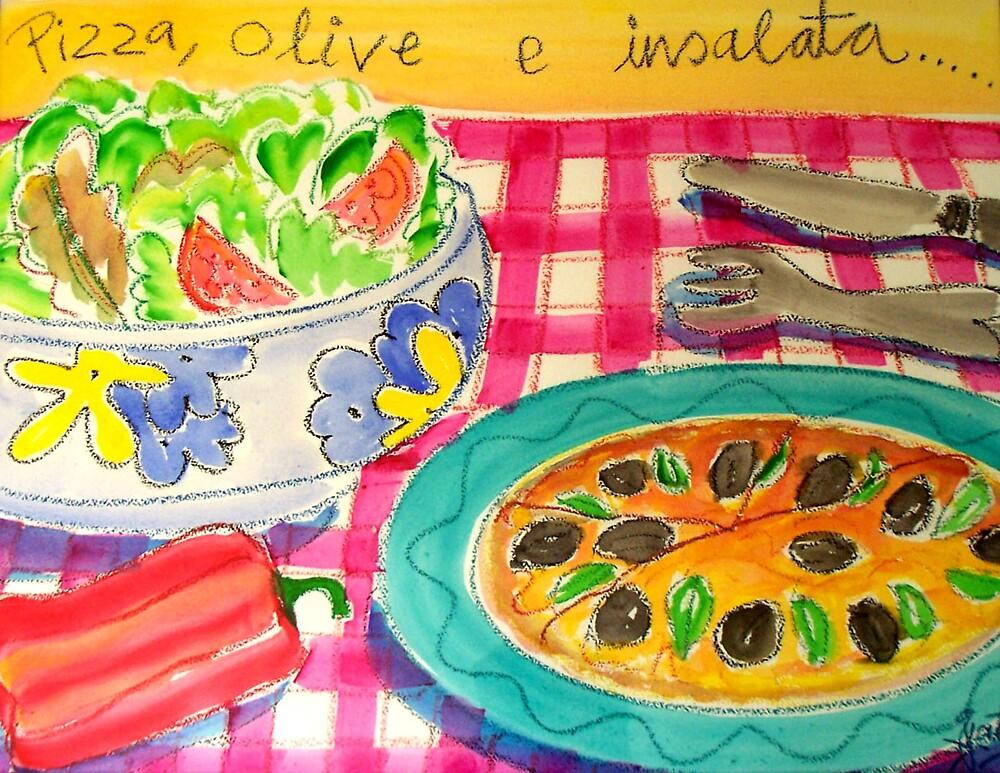 PIZZA , OLIVE , E  INSALATA ( PIZZA , OLIVES ,& SALAD ) by ART PRINTS ONLINE         by artist SARA  CATENA