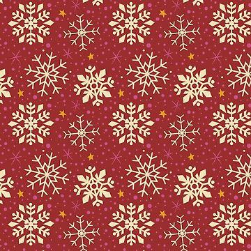 Christmas Snowflake Pattern (Red) by KristyKate