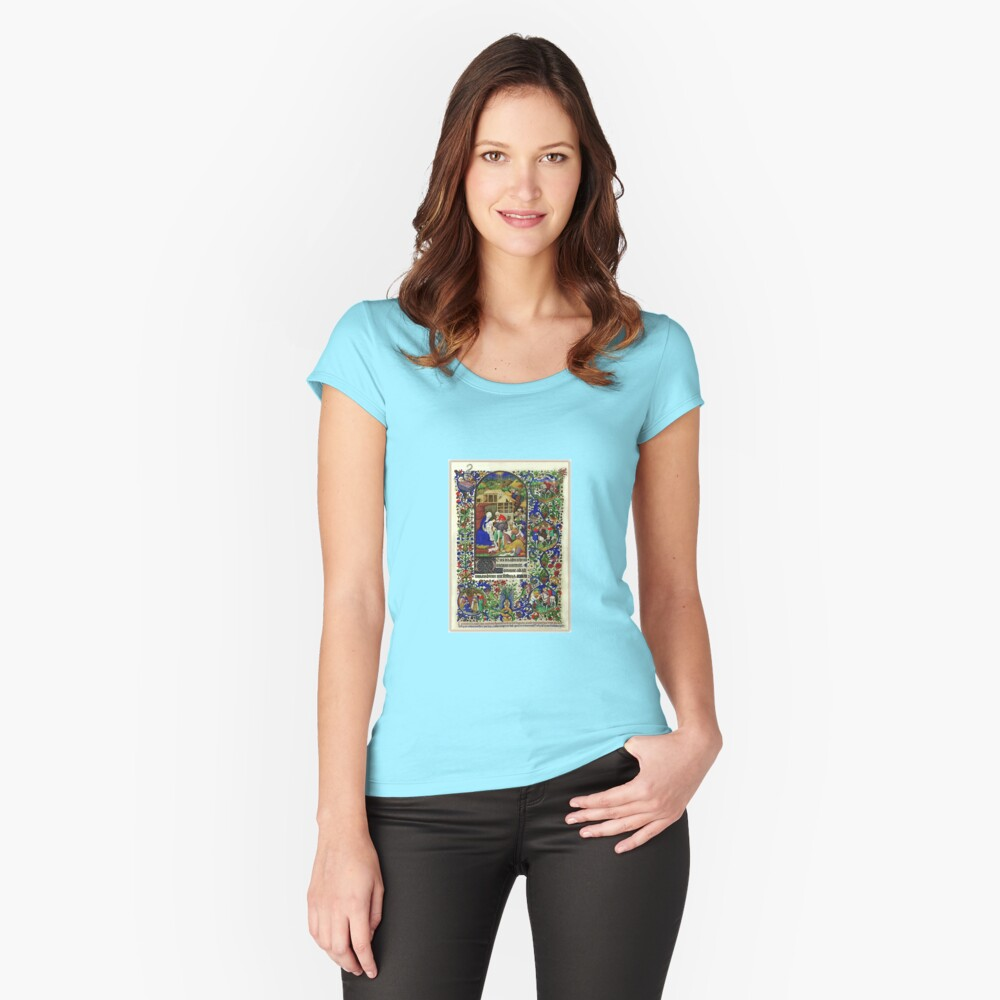 Illuminated New Testaments Adoration of Baby Jesus Fitted Scoop T-Shirt