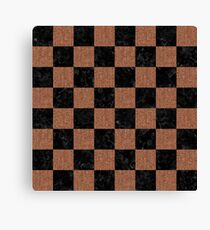 SQUARE1 BLACK MARBLE & BROWN DENIM Canvas Print