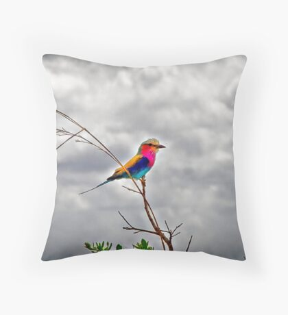 Crazy Colorful Bird Throw Pillow