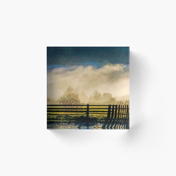 rural area on hillside in rising cloud at sunrise Acrylic Block