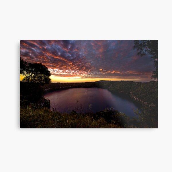 Blue lake sunset Metal Print