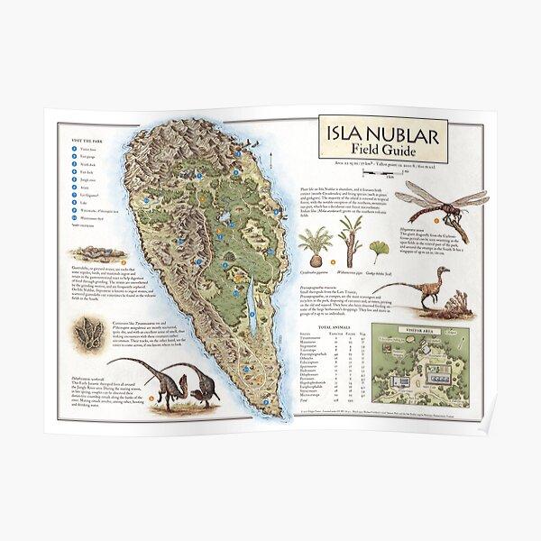 Isla Nublar Field Guide - Carte du Jurassic Park Poster
