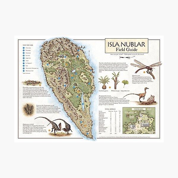 Isla Nublar Field Guide - Jurassic Park map Photographic Print