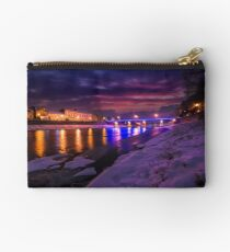 gorgeous evening cityscape of old town in winter Studio Pouch
