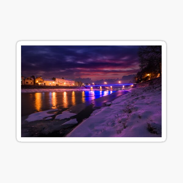 gorgeous evening cityscape of old town in winter Sticker