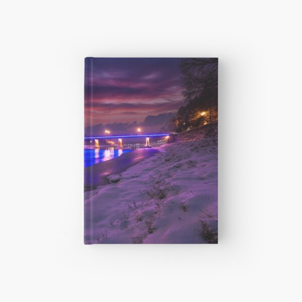 gorgeous evening cityscape of old town in winter Hardcover Journal