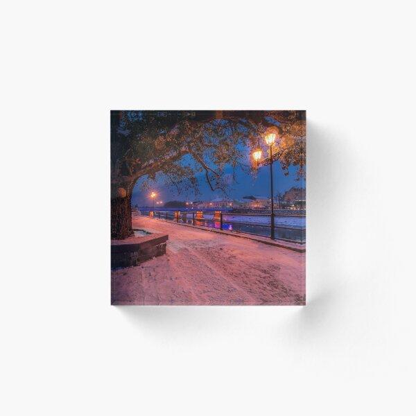 huge tree and lantern on the winter embankment Acrylic Block