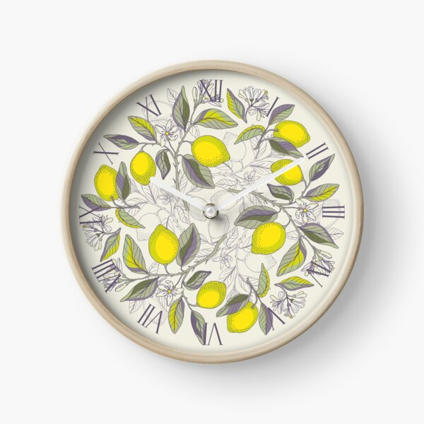 Lemon pattern Clock