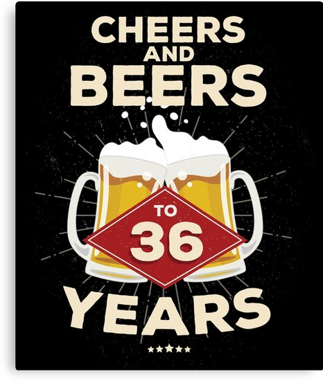 36th Birthday Gift Idea – Cheers and Beers to 36 Years Quote