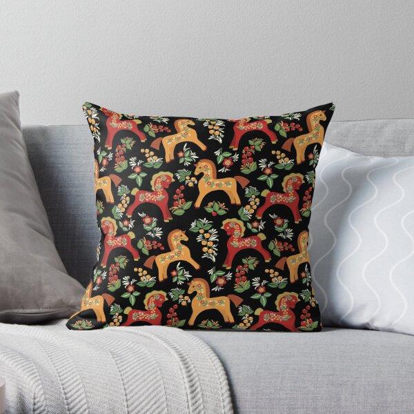 Folk horses pattern  Throw Pillow