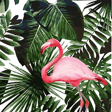 Tropical Plant and Flamingo  by koovox