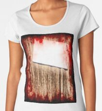 Halloween background.Suicide bloody note on grunge wooden background. Women's Premium T-Shirt