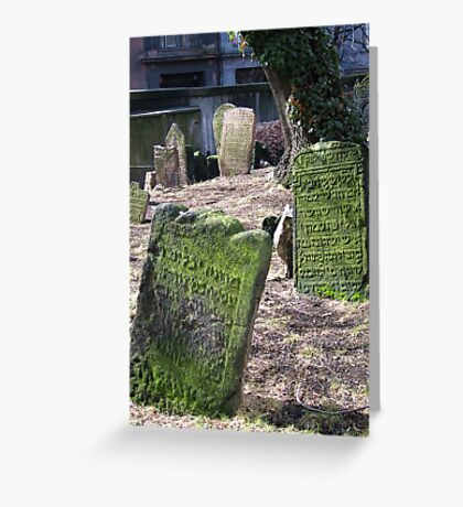 The Old Jewish cemetery in Josefov, the former Jewish ghetto of Prague Greeting Card