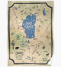 Faux Vintage Map of the Lake Tahoe Region Poster