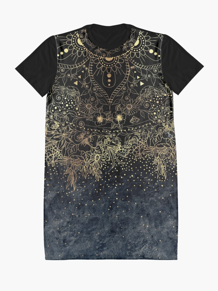 Alternate view of Stylish Gold floral mandala and confetti  Graphic T-Shirt Dress